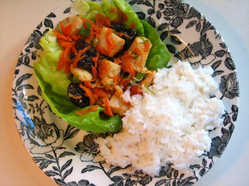 Cherry_chicken_lettuce_wraps_rice